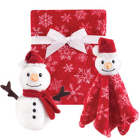 Hudson Baby Plush Blanket, Security Blanket and Toy Set, Snowman