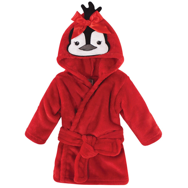Hudson Baby Plush Animal Face Bathrobe, Girl Penguin