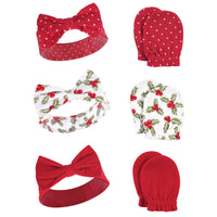 Hudson Baby Cotton Headband and Scratch Mitten Set, Holly