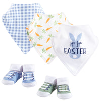 Hudson Baby Cotton Bib and Sock Set, Boy First Easter