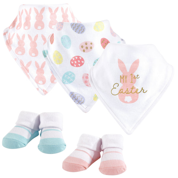 Hudson Baby Cotton Bib and Sock Set, Girl First Easter