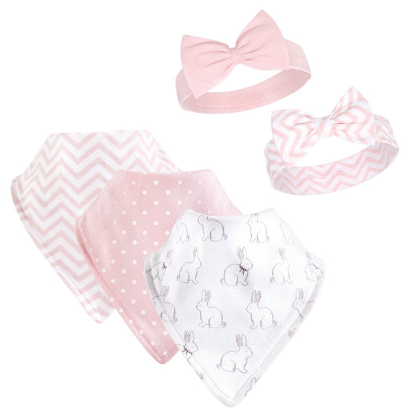 Hudson Baby Cotton Bib and Headband or Caps Set, White Bunny