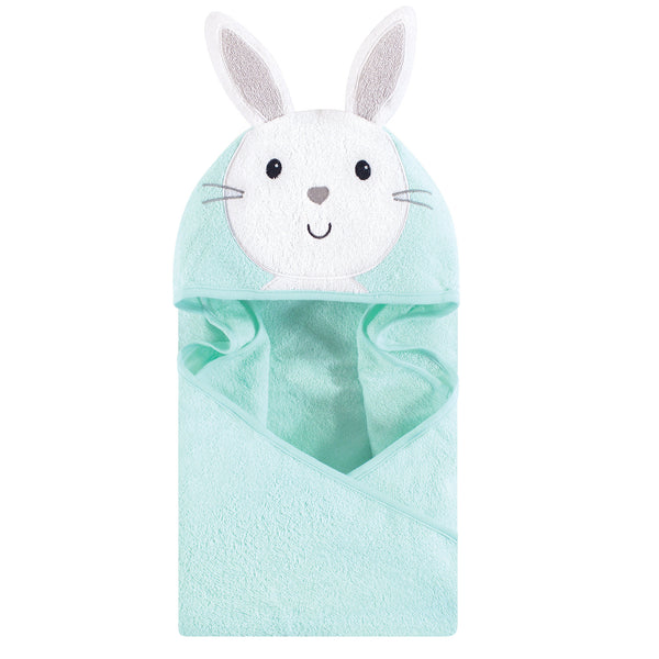 Hudson Baby Cotton Animal Face Hooded Towel, Mint Bunny