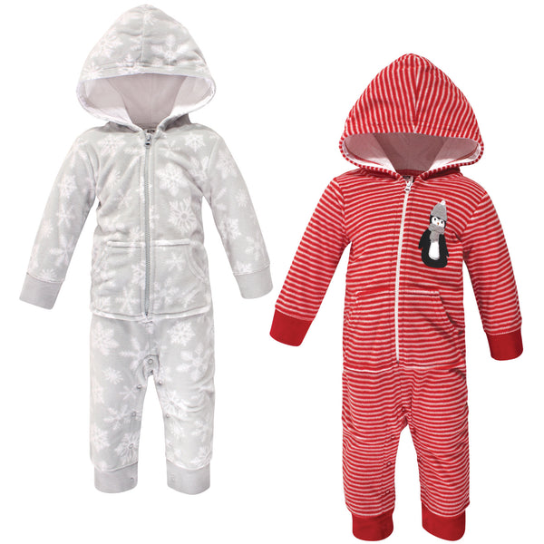 Hudson Baby Fleece Jumpsuits, Coveralls, and Playsuits, Red Penguin Baby