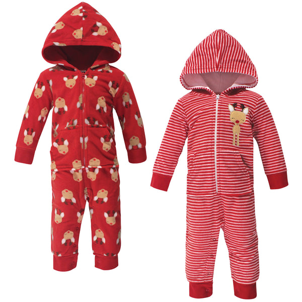 Hudson Baby Fleece Jumpsuits, Coveralls, and Playsuits, Red Reindeer Baby
