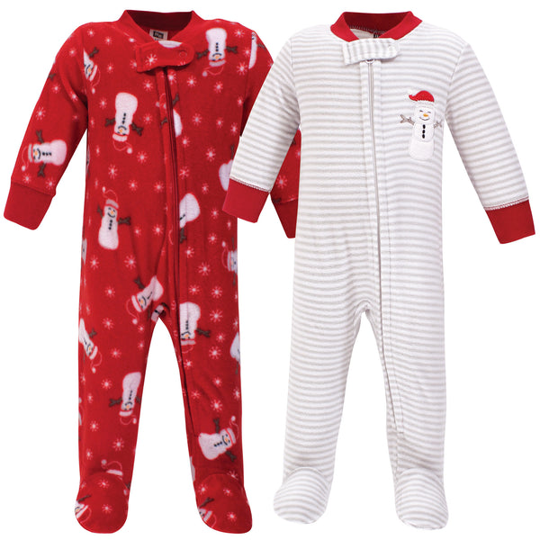 Hudson Baby Fleece Sleep and Play, Santa Snowman