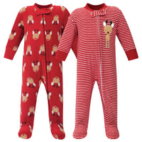 Hudson Baby Fleece Sleep and Play, Red Reindeer