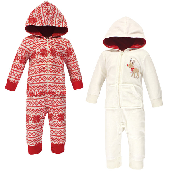 Hudson Baby Fleece Jumpsuits, Coveralls, and Playsuits, Cream Reindeer Baby