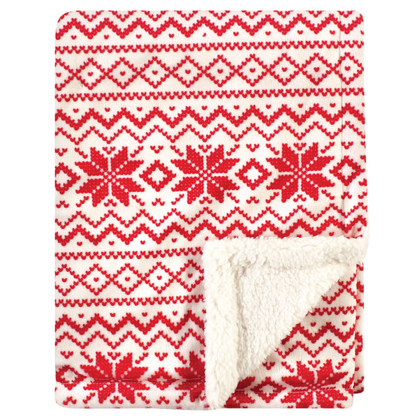 Hudson Baby Plush Blanket with Sherpa Back, Red Fair Isle