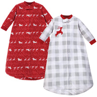 Hudson Baby Long-Sleeve Fleece Sleeping Bag, Santas Sleigh