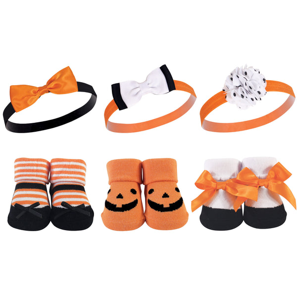 Hudson Baby Headband and Socks Giftset, Pumpkin