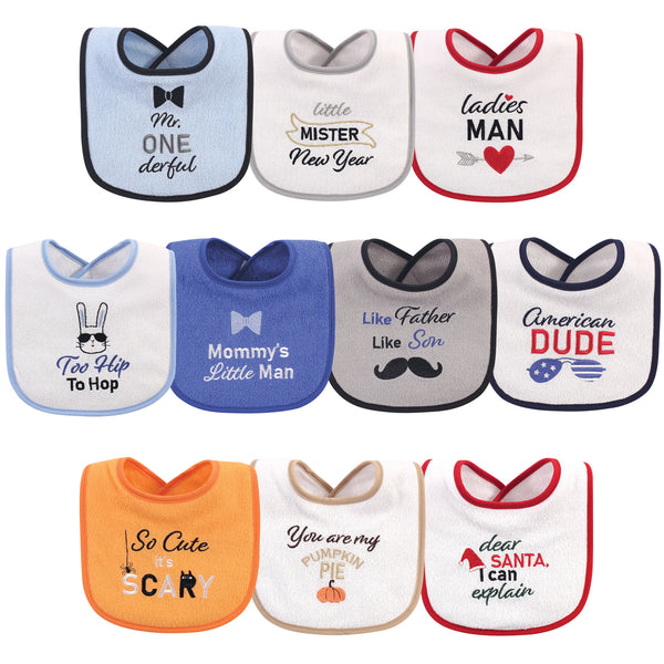 Hudson Baby Cotton Terry Drooler Bibs with Fiber Filling, Holiday Boy Onederful