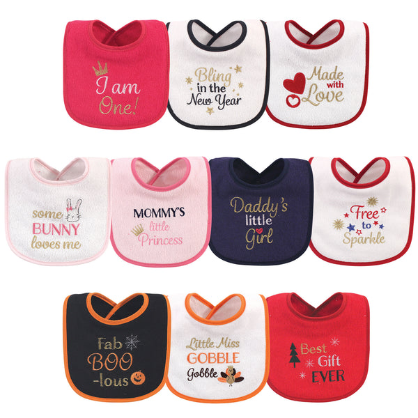 Hudson Baby Cotton Terry Drooler Bibs with Fiber Filling, Holiday Girl I Am One