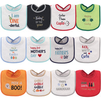 Hudson Baby Cotton Terry Drooler Bibs with Fiber Filling, Holiday Unisex