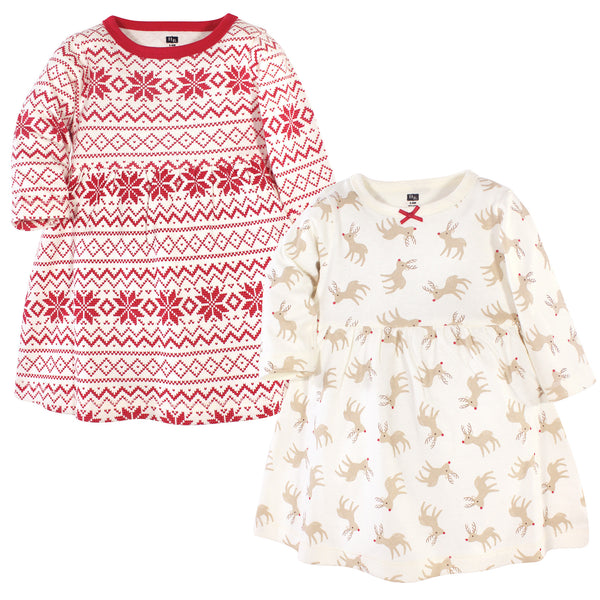 Hudson Baby Cotton Dresses, Reindeer