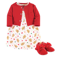 Hudson Baby Cotton Dress, Cardigan and Shoe Set, Sugar Spice