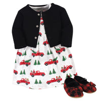 Hudson Baby Cotton Dress, Cardigan and Shoe Set, Christmas Tree