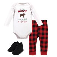 Hudson Baby Cotton Bodysuit, Pant and Shoe Set, Moose Wonderful Time