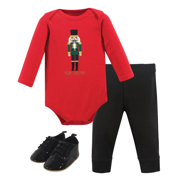 Hudson Baby Cotton Bodysuit, Pant and Shoe Set, Nutcracker