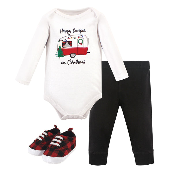 Hudson Baby Cotton Bodysuit, Pant and Shoe Set, Christmas Camper