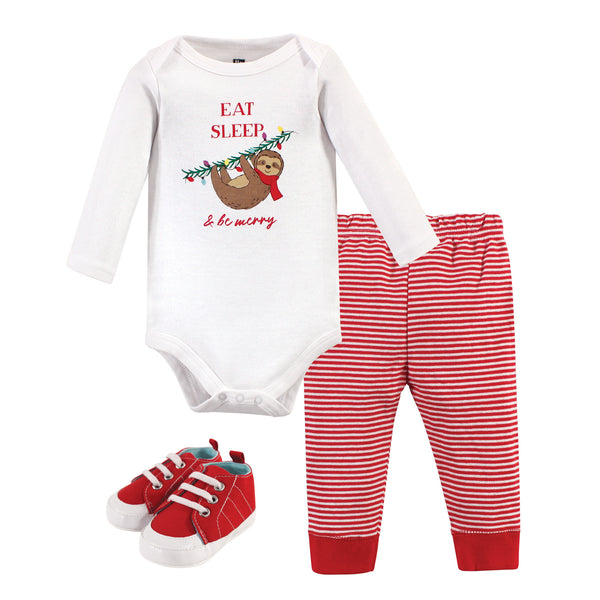 Hudson Baby Cotton Bodysuit, Pant and Shoe Set, Christmas Sloth