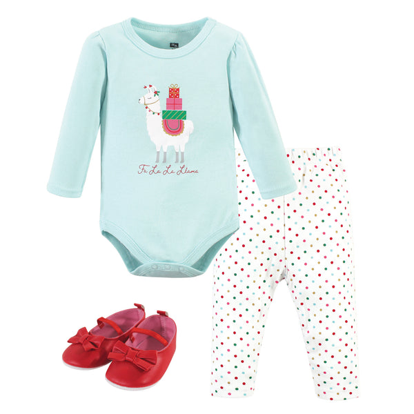 Hudson Baby Cotton Bodysuit, Pant and Shoe Set, Fa La Llama