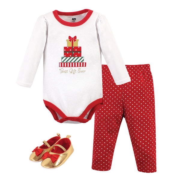Hudson Baby Cotton Bodysuit, Pant and Shoe Set, Christmas Gifts