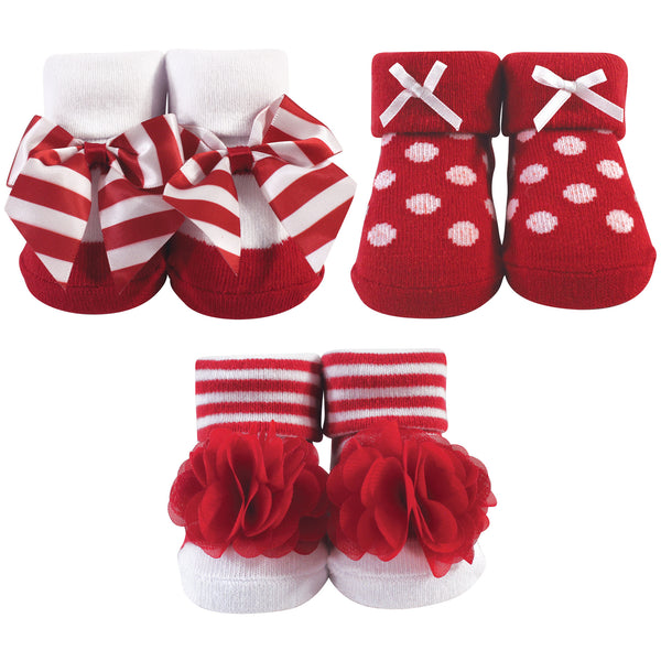 Hudson Baby Socks Boxed Giftset, Red White Stripe
