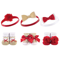 Hudson Baby Headband and Socks Giftset, Red Gold