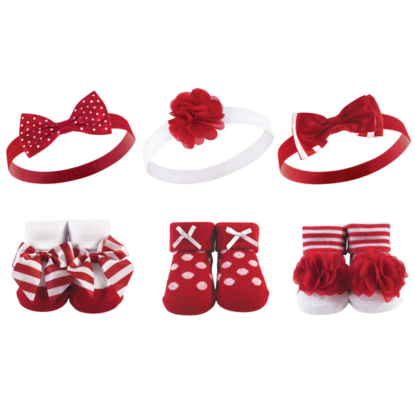 Hudson Baby Headband and Socks Giftset, Red White Stripe