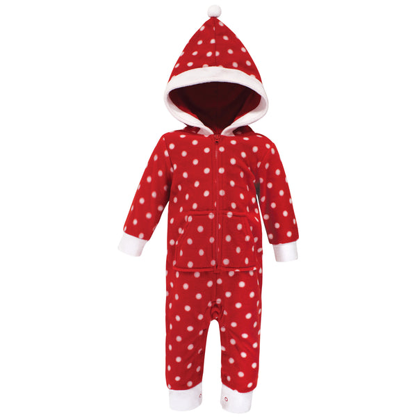 Hudson Baby Fleece Jumpsuits, Coveralls, and Playsuits, Red Polka Dot Baby