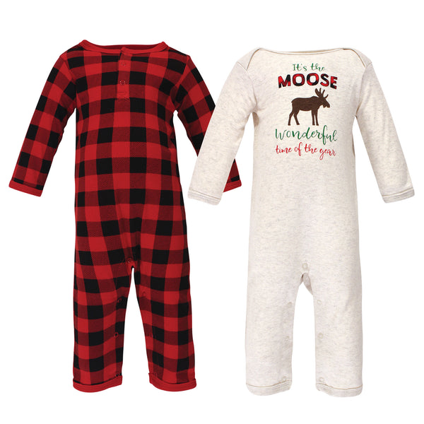 Hudson Baby Cotton Coveralls, Moose Wonderful Time Baby