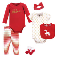 Hudson Baby Cotton Layette Set, Christmas Unicorn