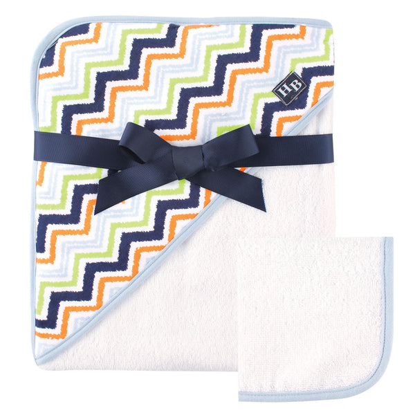 Hudson Baby Cotton Hooded Towel and Washcloth, Chevron
