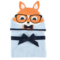 Hudson Baby Cotton Animal Face Hooded Towel, Nerdy Fox
