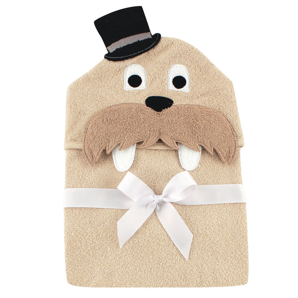 Hudson Baby Cotton Animal Face Hooded Towel, Classy Walrus