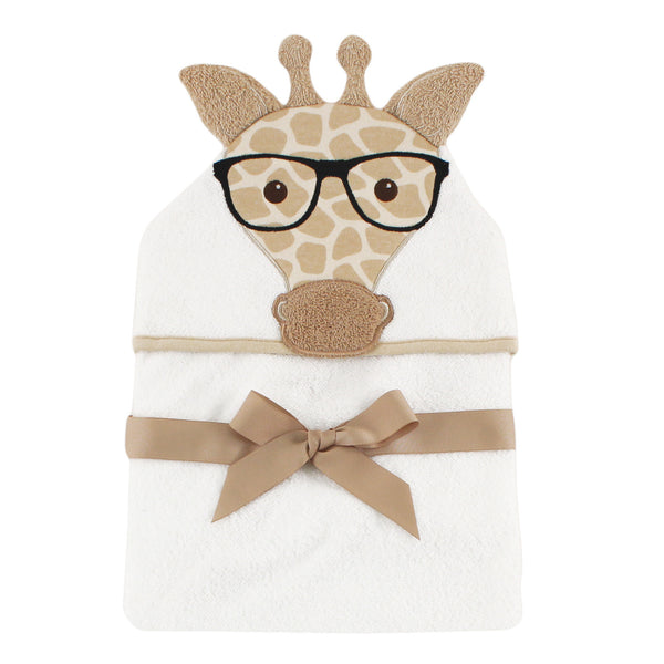 Hudson Baby Cotton Animal Face Hooded Towel, Nerdy Giraffe