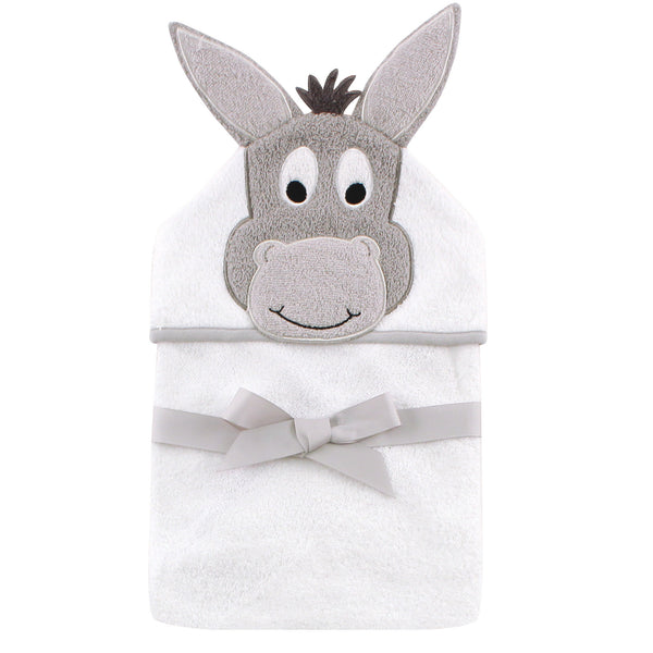 Hudson Baby Cotton Animal Face Hooded Towel, Happy Donkey