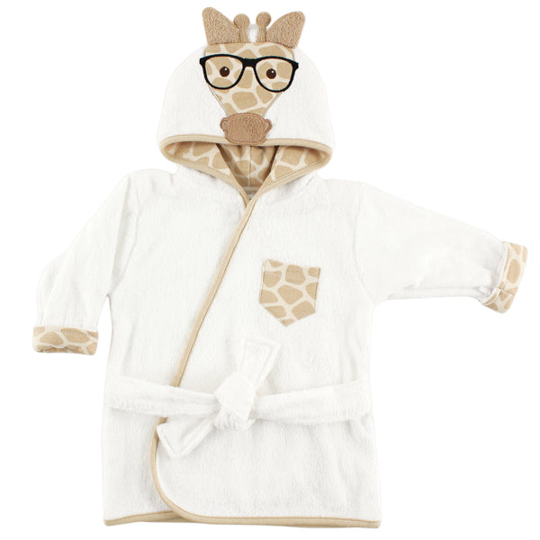 Hudson Baby Cotton Animal Face Bathrobe, Nerdy Giraffe