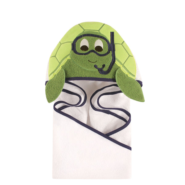 Hudson Baby Cotton Animal Face Hooded Towel, Scuba Turtle