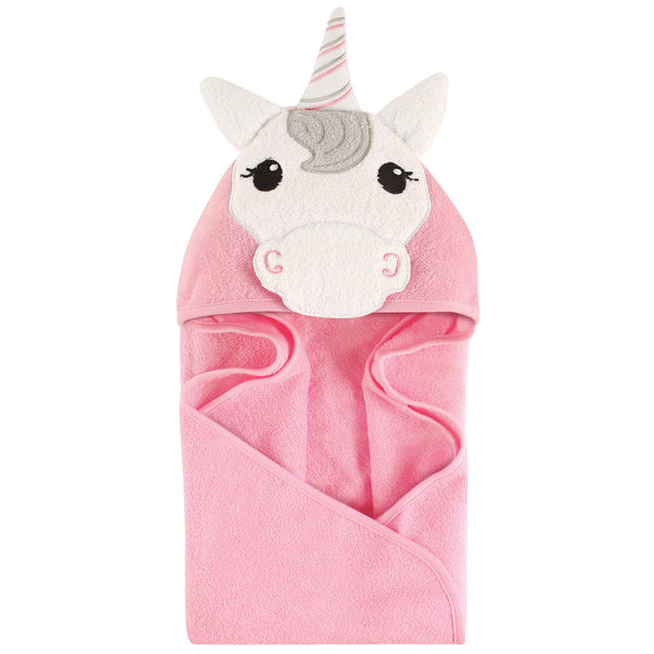 Hudson Baby Cotton Animal Face Hooded Towel, Unicorn