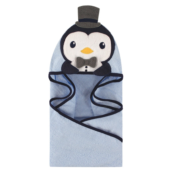 Hudson Baby Cotton Animal Face Hooded Towel, Mr Penguin