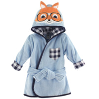 Hudson Baby Cotton Animal Face Bathrobe, Nerdy Fox