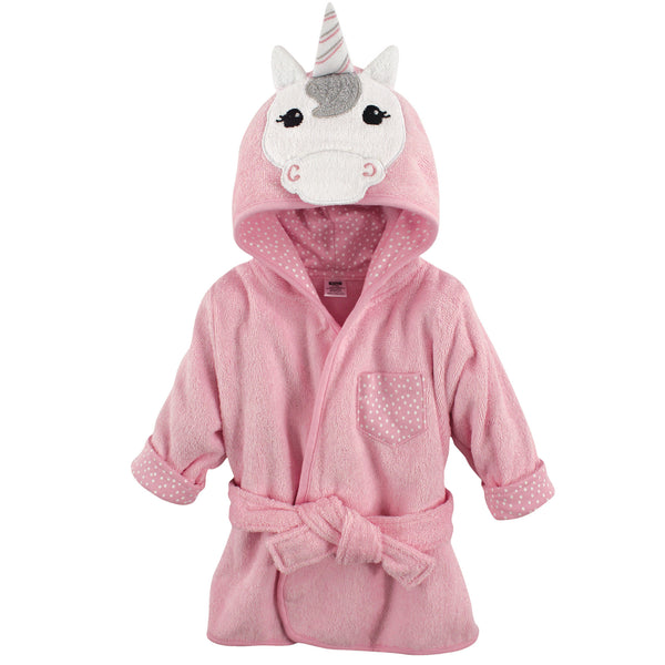 Hudson Baby Cotton Animal Face Bathrobe, Unicorn
