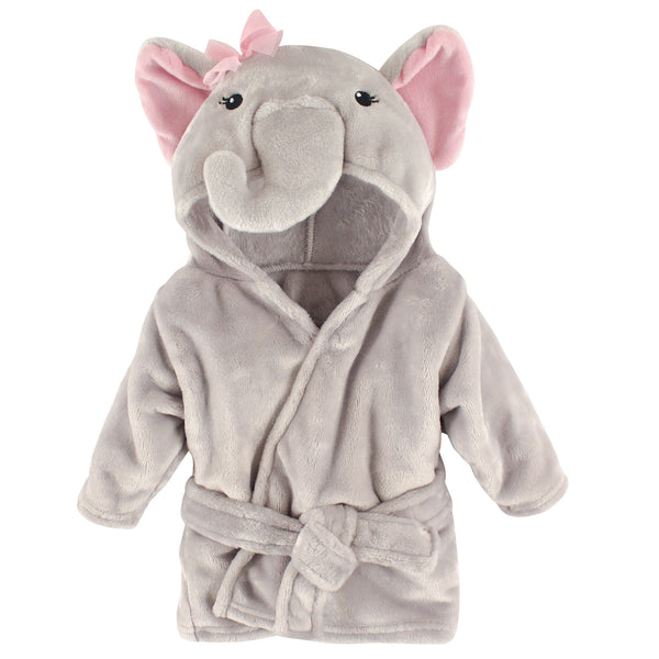 Hudson Baby Plush Animal Face Bathrobe, Pretty Elephant