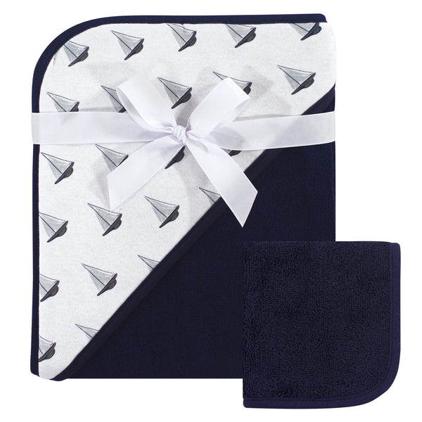 Hudson Baby Cotton Hooded Towel and Washcloth, Sailboat