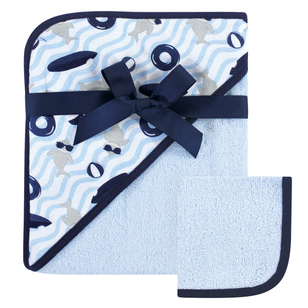 Hudson Baby Cotton Hooded Towel and Washcloth, Shark
