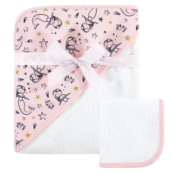 Hudson Baby Cotton Hooded Towel and Washcloth, Mermaid