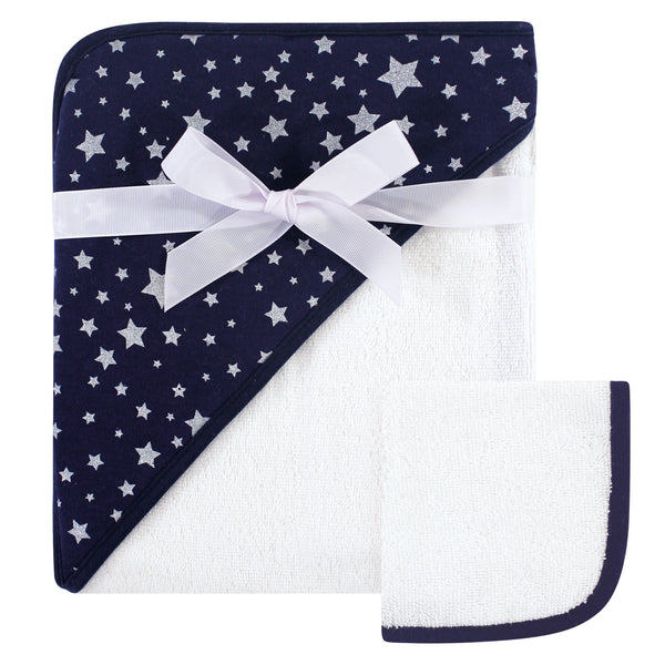 Hudson Baby Cotton Hooded Towel and Washcloth, Navy Silver Star