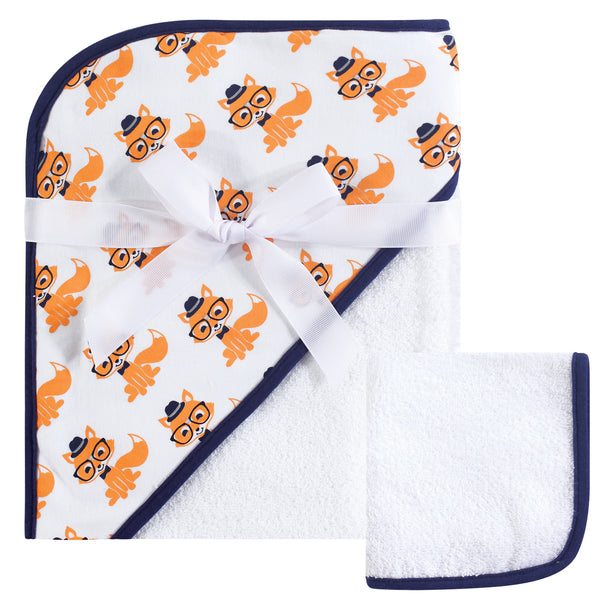 Hudson Baby Cotton Hooded Towel and Washcloth, Nerdy Fox